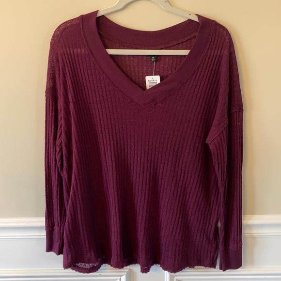 NWT *Torrid waffle knit burnout long sleeve top